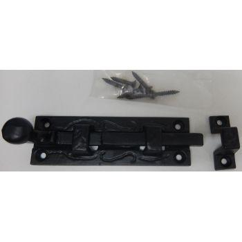 Metal Door Bolt Black Security Lock Home Bathroom Bedroom 100mm
