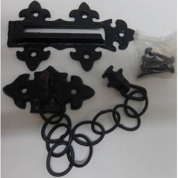 Metal Door Chain Bolt Black Antique Powder Coated Security 125mm