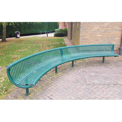 Bench Seat Garden Park Metal Outdoor Public Street Large Curved Green Outside