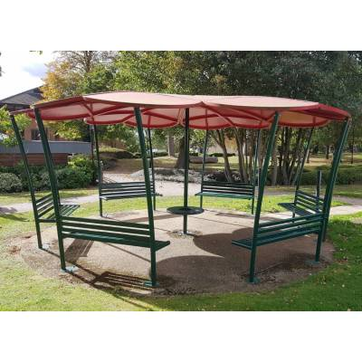 Shelter Gazebo Seating Bench Smoking Outdoor Park Pergola Area Metal Area