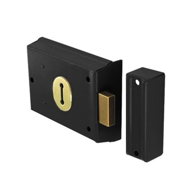 Powder Coated Dead Lock Double Handed Rim Black Gate Door Ou...