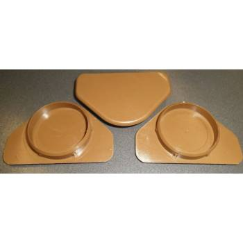 Pack of 3 Blum Hinge Covers Brown Plastic 35mm Hole Cap Blank