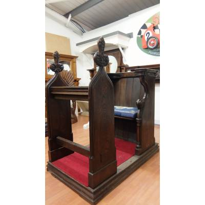 Victorian Bishop's Oak Combined Chair Pew Book Stand Solid W...