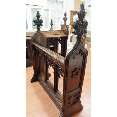 Oak Victorian Pew Book Stand Screen Solid Antique Church Fur...