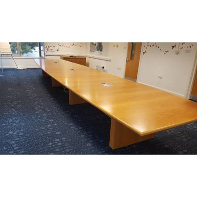 Table Oak Conference Boardroom Office Meeting Banquet Dining Buffet Large 8m