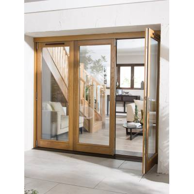 Oak Canberra External Sliding Folding Glazed Doors Wooden Ti...