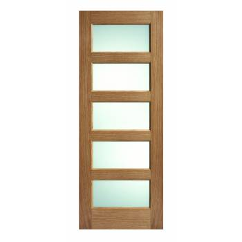 Pre-finished Oak Contemporary 5 Light Frosted Glazed Internal Door Wooden Timber