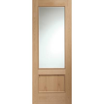 Oak Andria Clear Glazed Raised Moulding Internal Door Wooden...