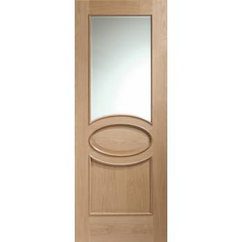 Oak Calabria With Clear Glazing and Raised Moulding Internal Door