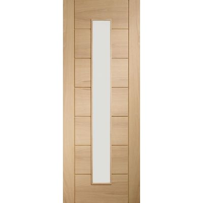 Pre Finished Oak Palermo 1 Light Clear Glazed Door Wooden Timber Interior - Door Size, HxW: