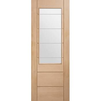 Oak Palermo 2XG Etched Clear Glazed Door Wooden Timber Interior