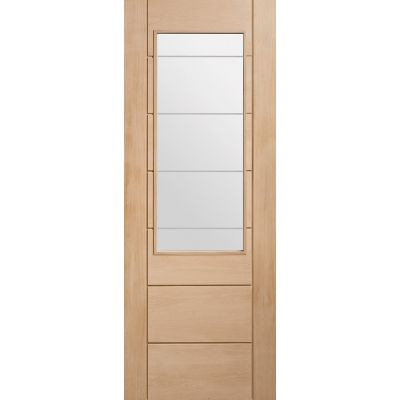 Oak Palermo 2XG Etched Clear Glazed Door Wooden Timber Inter...