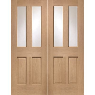 Oak Malton Pair Clear Glazed Door Pair Wooden Timber - Door ...