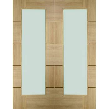 Oak Ravenna Pair Clear Glazed Door Pair Wooden Timber