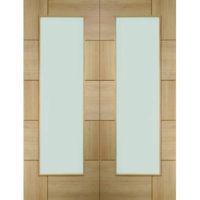 Oak Ravenna Pair Clear Glazed Door Pair Wooden Timber - Door...
