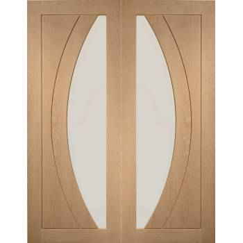 Oak Salerno Internal French Door Pair Clear Glass