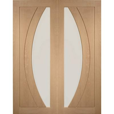 Oak Salerno Internal French Door Pair Clear Glass - Door Siz...
