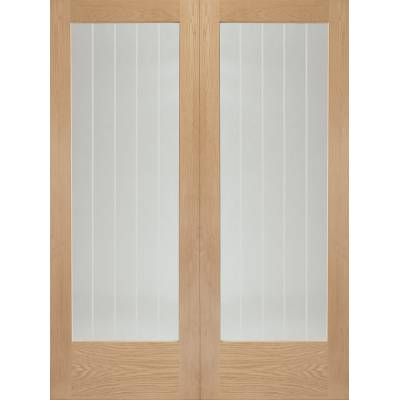 Oak Suffolk Pair Clear Etched Glazed Door Pair Wooden Timber...