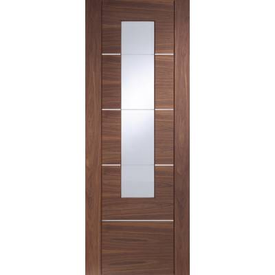 Pre-finished Portici With Clear Etched Glass Walnut Internal Door Wooden Timber - Door Size, HxW: