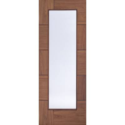 Pre-finished Ravenna With Clear Glass Walnut Internal Door Wooden Timber - Door Size, HxW: