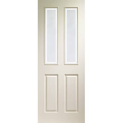 Victorian 4 Panel Internal White Moulded Door with Forbes Gl...
