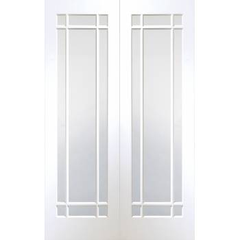 Cheshire Internal White Primed Rebated Door Pair with Clear Glass