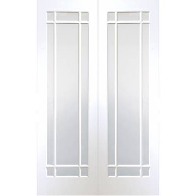 Cheshire Internal White Primed Rebated Door Pair with Clear Glass - Door Size, HxW:
