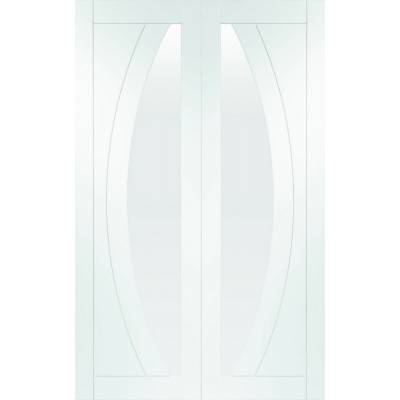 Salerno Internal White Primed Rebated Door Pair with Clear G...