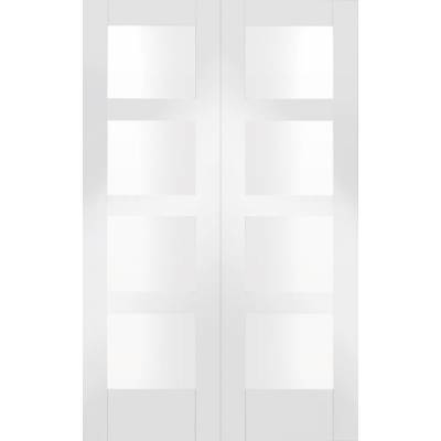 Shaker Internal White Primed Rebated Door Pair with Clear Gl...