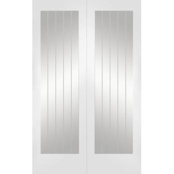 Suffolk Internal White Primed Rebated Door Pair with Clear Glass