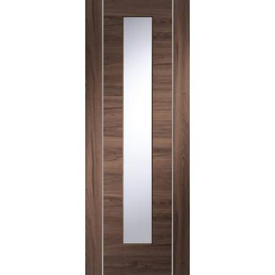 Pre-finished Forli Walnut With Clear Glass Internal Door Wooden Timber