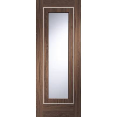 Pre-finished Varese With Clear Glass Walnut Internal Door Wooden Timber