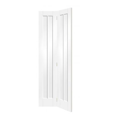 White Primed Worcester Bi-Fold Clear Glazed Internal Door In...