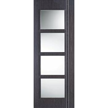 Pre-finished Zanzibar Ash Grey Glazed Internal Door Wooden Timber