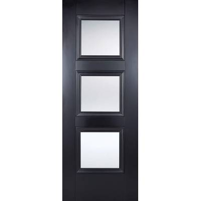 Black Primed Amsterdam Glazed Internal Door  - Door Size, Hx...