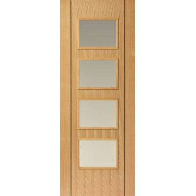 Pre Finished Contemporary Oak Blenheim Fire Door - Door Size...