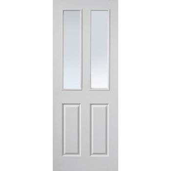 White Classic Canterbury 2 Light Fire Door