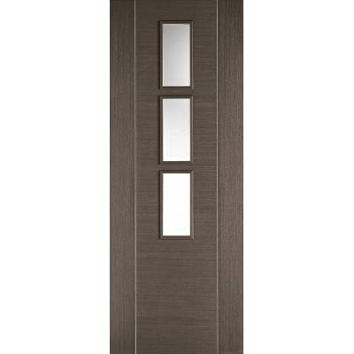 Pre-finished Alcaraz Chocolate Grey Glazed Internal Door Wooden Timber - Door Size, HxW: