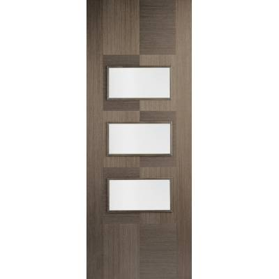 Pre-finished Apollo Chocolate Grey Glazed Internal Door Wooden Timber - Door Size, HxW: