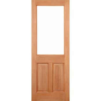 Hardwood 2XG 2 Panel Glazed External Door Wooden Timber - Essentials Range