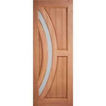 Hardwood Harrow Frosted Glazed External Door