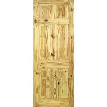 6 Panel Knotty Pine Internal Door Wooden Timber