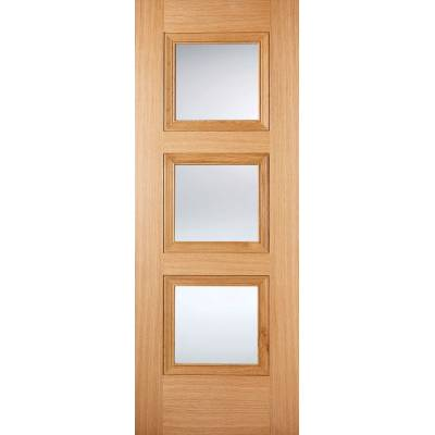 Pre-finished Oak Amsterdam Glazed Internal Door Wooden Timber - Door Size, HxW: