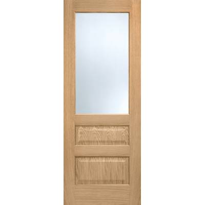 Pre-finished Oak Contemporary 2P 1L Frosted Glazed Internal Door Wooden Timber - Door Size, HxW: