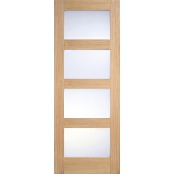 Oak Contemporary Frosted Glazed Internal Door Wooden Timber
