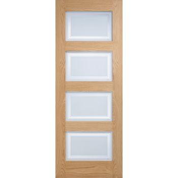 Oak Contemporary Silkscreen Glazed Internal Door Wooden Timber