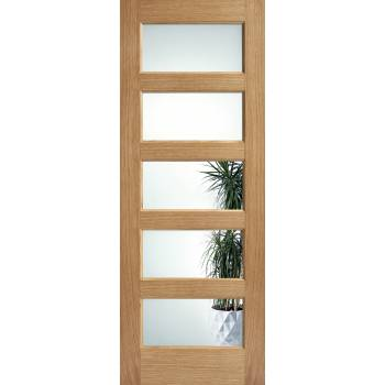 Pre-finished Oak Contemporary 5 Light Clear Glazed Internal Door Wooden Timber