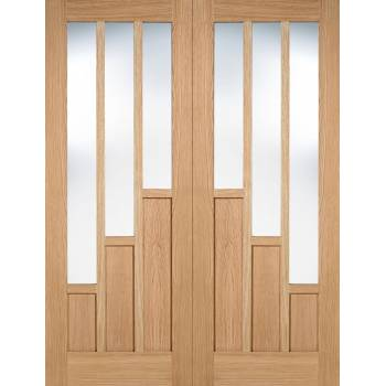 Oak Coventry Glazed Internal French Door Pair Wooden Timber