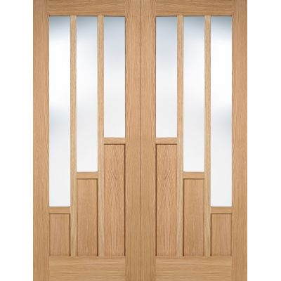 Pre-finished Oak Coventry Glazed Internal French Door Pair W...