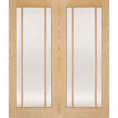 Oak Lincoln Glazed Internal French Door Pair Wooden Timber -...